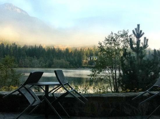 Nita Lake Lodge: Our view from Aura Restaurant as we enjoyed an early breakfast, looking out onto Nita Lake