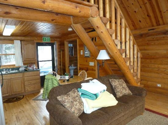 Newton Fork Ranch: View from balcony door. Note the stairs to the loft bed.