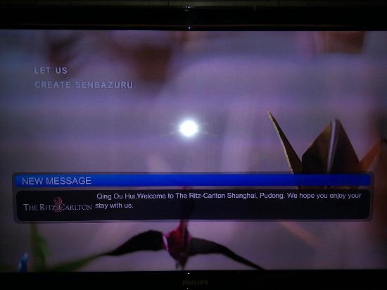 The Ritz-Carlton Shanghai, Pudong: Perosnalized TV welcome