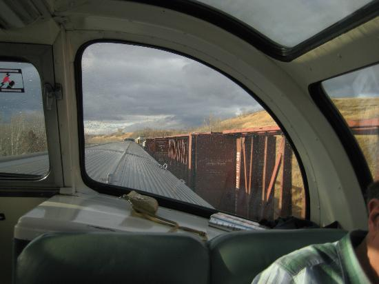 Skyview car view of passing freight train picture of Via rail canada cabin for 2