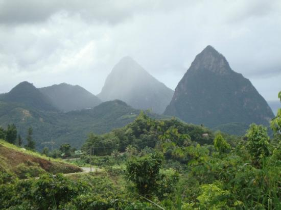 Sandals Grande St. Lucian Spa & Beach Resort: Piton Mountains.