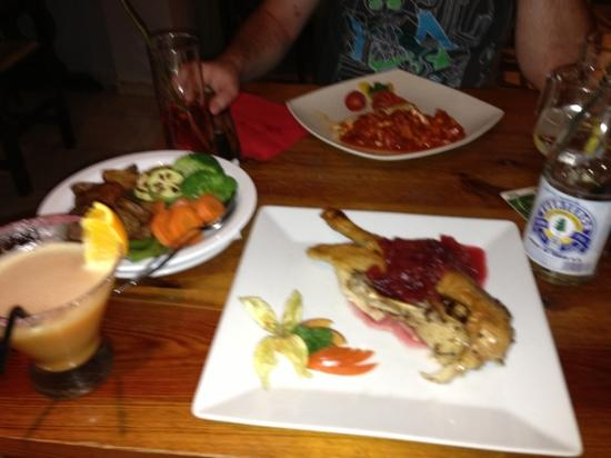 15: duck in plum and ginger sauce and chicken with bacon, chorizo and tomato sauce to the rear