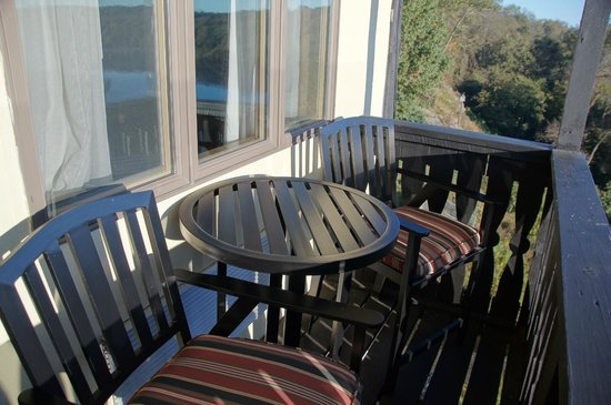 "Bavarian Inn:                   two bar stool style chairs and a small table make for a ""cozy"" balcony"