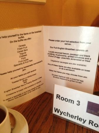 Old Rectory Hotel: breakfast menu