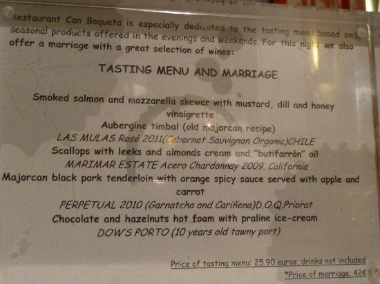 Ca'n BoQueta: Tasting Menu