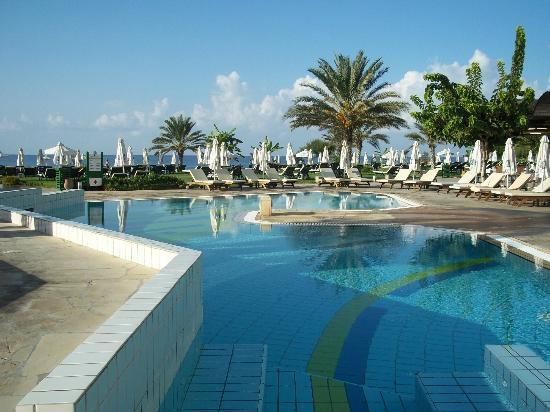Constantinou Bros Athena Royal Beach Hotel: The pool looking towards the beach
