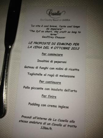 La Casella, Eco Resort: Menu for dinner