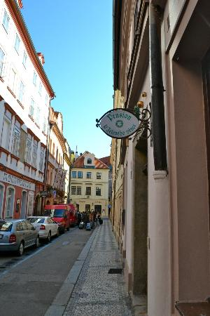 The Green Garland Pension: View of the Front Door towards Old Town Square