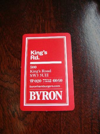 Byron Kings Road : Biglietto da visita del ristorante