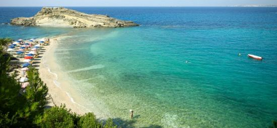 Platis Gialos, Grecia: The private beach front