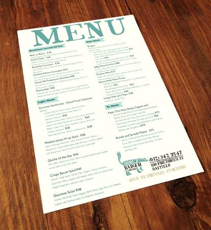 Honey Badger Bistro: The menu