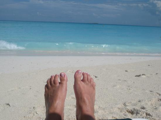 Sandals Emerald Bay Golf, Tennis and Spa Resort: The beautiful beach (also check out my French pedicure from the spa!)