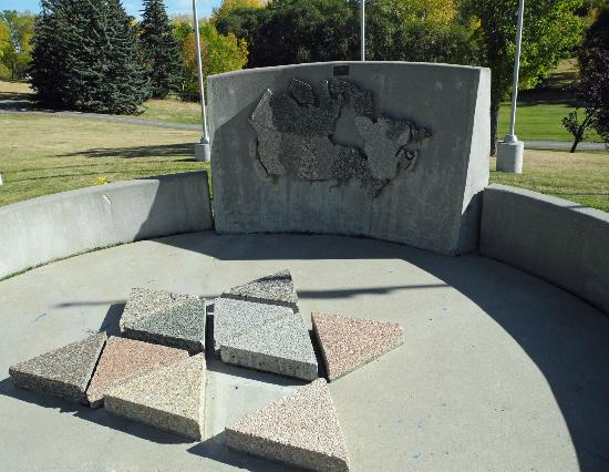 Confederation Park: Dedication area features large Canada map