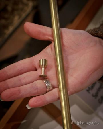 American Precision Museum : brass goblet and brass rod used to make it.