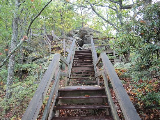 Fort Mountain State Park: stairs to get down to observation deck