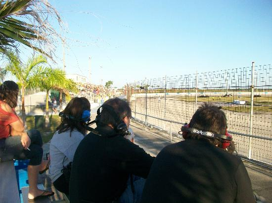 Punta Gorda Speedway: Crew members watch from the stands i the PIT area before race starts.