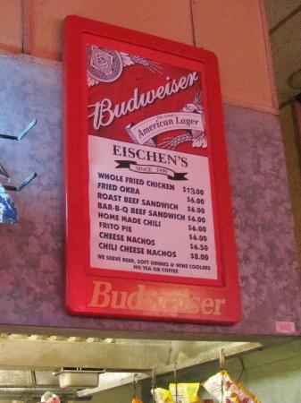 Eischen's Bar: Short Menu .. This is where you get Chicken