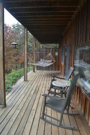 Beaver Lakefront Cabins: the deck of Suite D