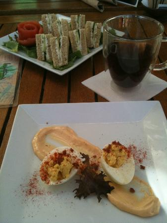 Wystone's World Teas: Wystone's has a new menu. We tried the cucumber sandwiches and deviled eggs for appetizers. YUM!