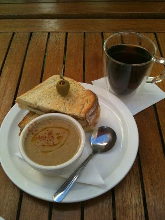 Wystone's World Teas: Their new menu has a grilled brie and fig sandwich. Today's soup was mushroom and everyone tried