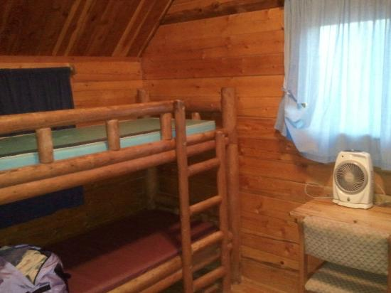 Moab KOA Campground: one bunk bed in the back room