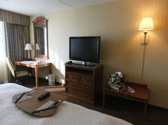 Hampton Inn NY - JFK: Desk and t.v.