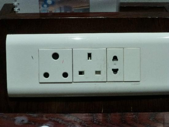 Fountains Hotel: An example of the plugs in the hotel.