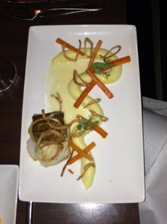 stout: dish of the day was seared cod and a pipe of potato with crispy veg