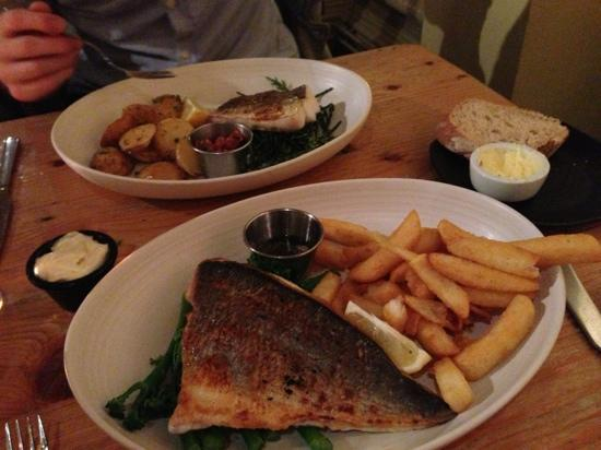 "Loch Fyne - Bath : fish ""your way"". pan fried bream and pan fried hake"