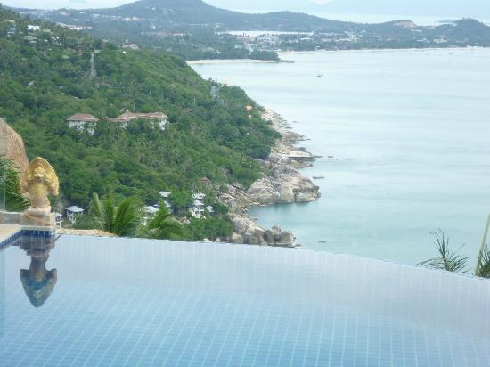 Sandalwood Luxury Villas: view to Cheweng from main pool