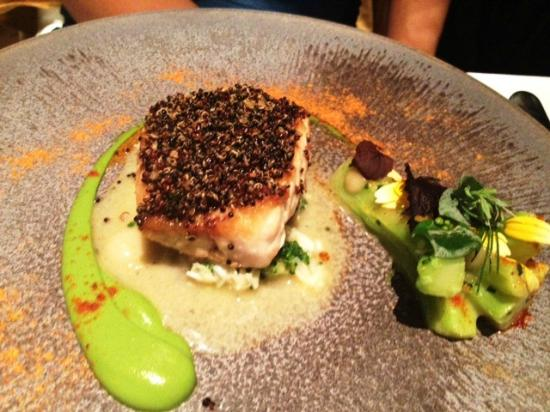 The Ledbury: Sea Bass with black quinoa