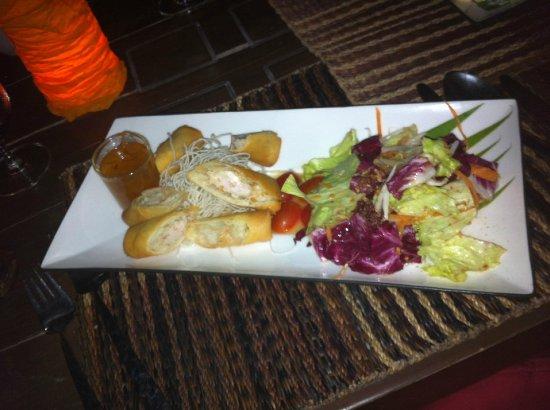 Bhundhari Spa Resort & Villas Samui: Crab and vegetable spring rolls- lovely!