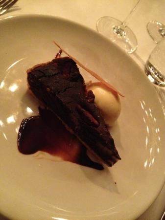 Rhinefield House Hotel: chocolate torte with vanilla ice cream - Armada Reataurant