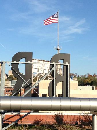 Boulevard Brewing Company: View of the flag from the rooftop - beautiful views