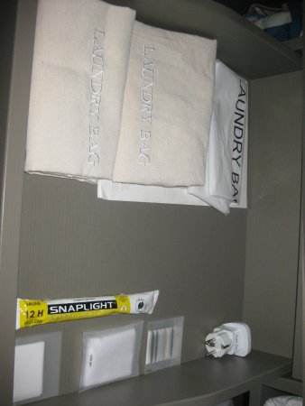 Hyatt Regency Dusseldorf: Lovely laundry bags, shoe polish, emergency light, plug
