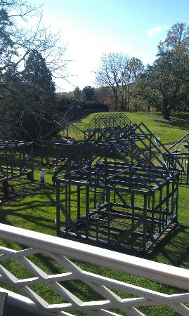 James Madison's Montpelier: Reconstructed model of slave quarters to left of terrace