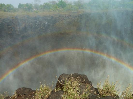 Sindabezi Island: Rainbow seen from the top of the falls