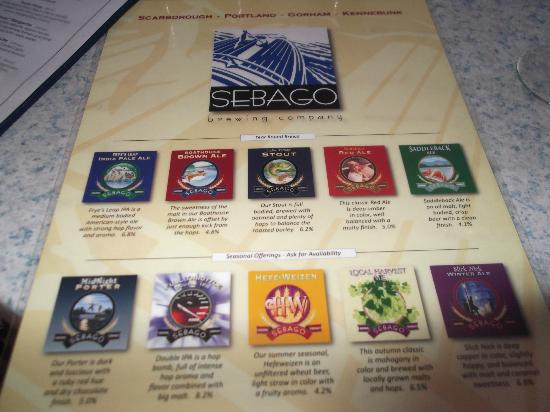 Sebago Brewing Co : beer list