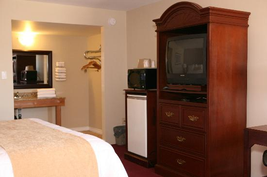 Saxony Motel & Restaurant: King Size Bed with T.V, Microwave, Fridge