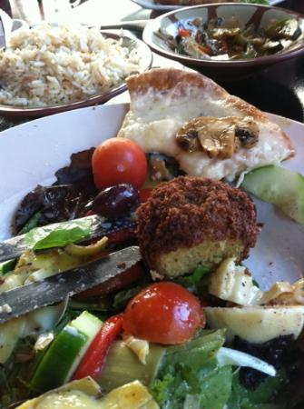 Nadim's Downtown Mediterranean Grill: several menu items- cheesy bruschetta, Mediterranean Salad, Falafel and Rice Pilaf