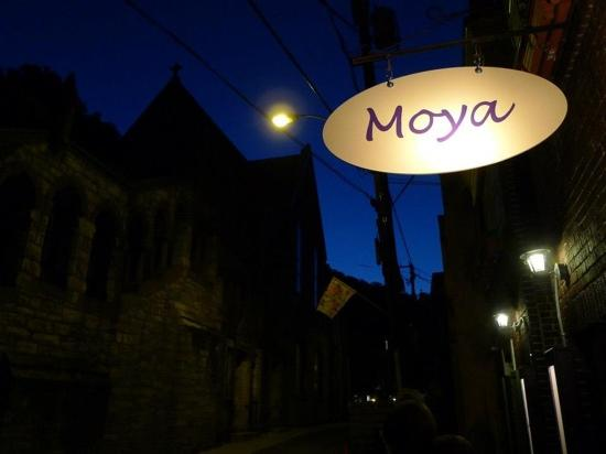 front of Moya at night