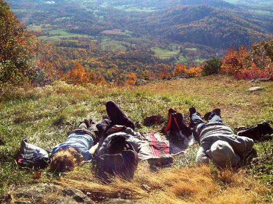 Take a nap in the warm Autumn sunshine at the overlook on Dickey Ridge Trail