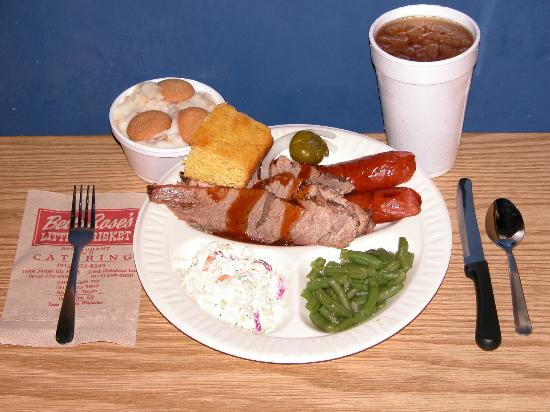 Betty Rose's Little Brisket : Betty Rose's brisket and smoked sausage with Banana pudding.
