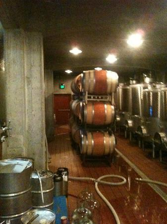 Raphael Winery: Barrel storage area