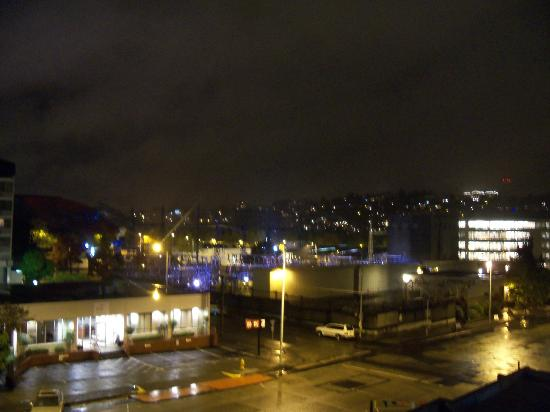 Travelodge Seattle by the Space Needle: view from open window at night