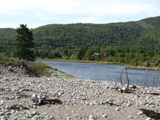 Cabot Shores Wilderness Resort: Resort View from Private Sandy Beach across River