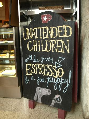 Dogleg Coffee House : Funny sign in coffee house