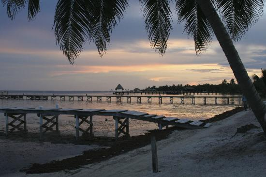 Ambergris Caye, Belize: many boat docks in front of the hotels