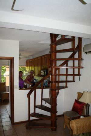 Spiral staircase in 2 bedroom suite
