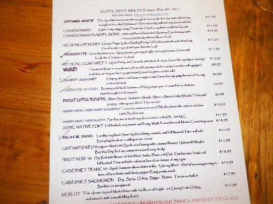 Rustic Ridge Winery: The tasting menu.